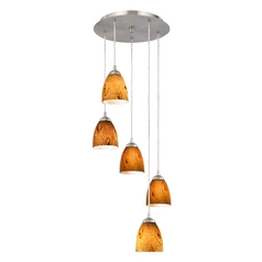 Design Classics Lighting Contemporary Multi-Light Pendant with Art Glass and Five Lights 580-09 GL1001MB