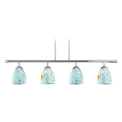 4-Light Linear Pendant Light with Turquoise Art Glass in Chrome Finish