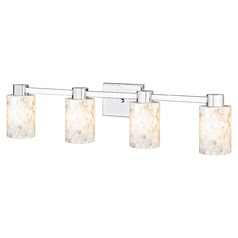 4-Light Mosaic Glass Vanity Light Chrome