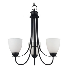 Mini-Chandelier with White Glass in Blacksmith Finish