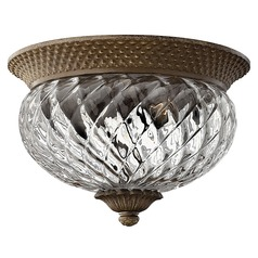 Flushmount Light with Clear Glass in Pearl Bronze Finish