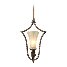 LED Pendant Light with Beige / Cream Glass in Burnt Bronze/weathered Gold Leaf Finish