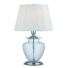 Lite Source Tyson Chrome / Clear Table Lamp with Empire Shade
