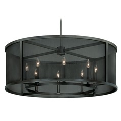 Wicker Park Warm Pewter Pendant Light with Drum Shade by Vaxcel Lighting