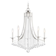 Transitional Polished Nickel 5-Light Chandelier