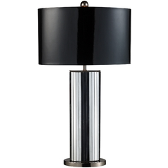 Modern Table Lamp with Black Shade in Mirrored and Black Nickel Finish