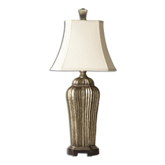 Table Lamp with White Shade in Antique Silver Leaf Finish