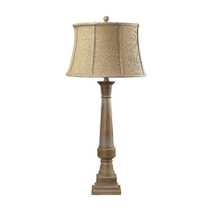 Table Lamp with Brown Shade in Bleached Wood Finish