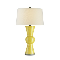 Table Lamp with White Shade in Yellow Finish