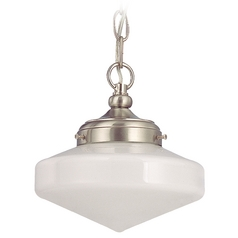 8-Inch Schoolhouse Mini-Pendant Light with Opal White Glass