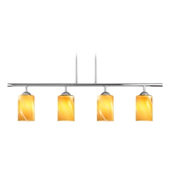 Modern Linear Pendant Light with 4-Lights and Butterscotch Art Glass in Chrome Finish