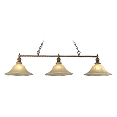 Billiard Light with Beige / Cream Glass in Burnt Bronze/weathered Gold Leaf Finish