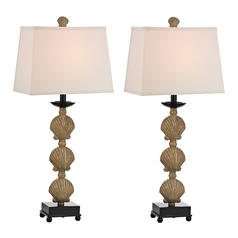 LED Table Lamp Set with Beige / Cream Shades in Galati Gold Finish