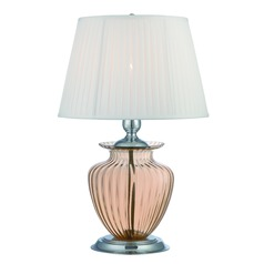 Lite Source Tyson Chrome / Light Amber Table Lamp with Empire Shade