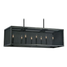 Wicker Park Warm Pewter Island Light with Rectangle Shade by Vaxcel Lighting