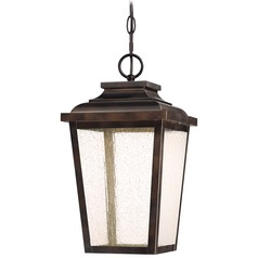 Seeded Glass LED Outdoor Hanging Light Bronze Minka Lavery