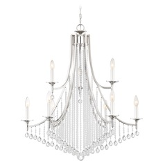 Transitional Polished Nickel 9-Light Chandelier