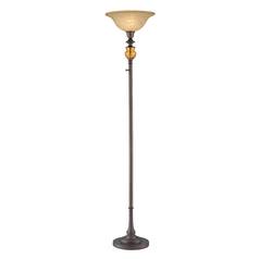 Lite Source Lighting Nisha Aged Bronze Torchiere Lamp with Bell Shade