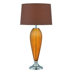 Lite Source Mekelle Chrome / Tawny Table Lamp with Drum Shade