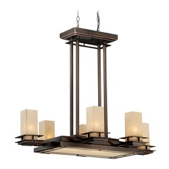 Oak Park Sienna Bronze Pendant Light with Rectangle Shade by Vaxcel Lighting