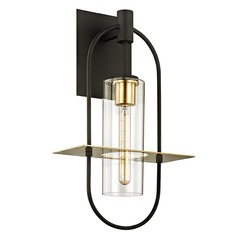 Troy Lighting Smyth Dark Bronze and Brushed Brass Outdoor Wall Light