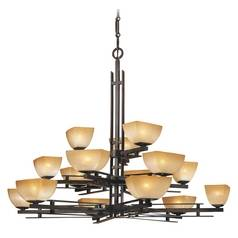 Chandelier with Beige / Cream Glass in Iron Oxide Finish