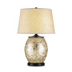 Table Lamp with Beige / Cream Shade in Natural/satin Black Finish