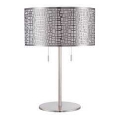 Lite Source Lighting Torre Polished Steel Table Lamp with Drum Shade