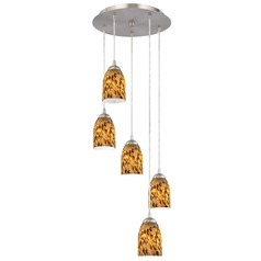 Design Classics Lighting Modern Multi-Light Pendant Light with Brown Art Glass and 5-Lights 580-09 GL1005D