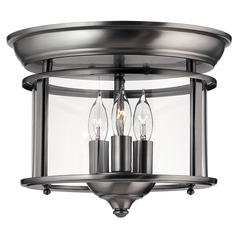 Flushmount Light with Clear Glass in Pewter Finish