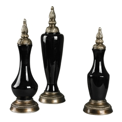 Barkisland Gloss Black / Brass Lamp Finial