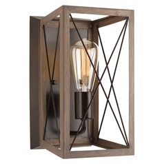 Industrial Style Bronze with Faux-Painted Wood Sconce by Progress Lighting