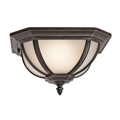 Kichler Outdoor Ceiling Light with White Glass in Rubbed Bronze Finish