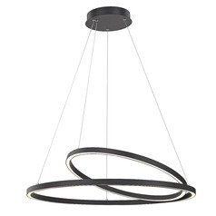 Modern 32-Inch LED Double Ring Pendant Light Black Finish