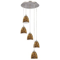 Design Classics Lighting Modern Multi-Light Pendant Light with Brown Art Glass and 5-Lights 580-09 GL1005MB