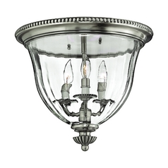 Hinkley Lighting Flushmount Light with Clear Glass in Pewter Finish 3612PW