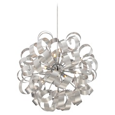 Mid-Century Modern Pendant Cluster Light Millenia Ribbons by Quoizel Lighting
