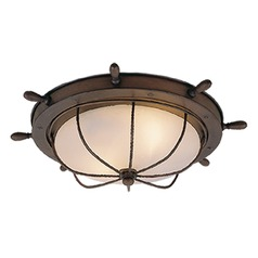 Orleans Antique Red Copper Outdoor Ceiling Light by Vaxcel Lighting