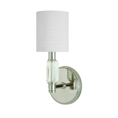 Modern Sconce Wall Light with White Shade in Polished Nickel Finish