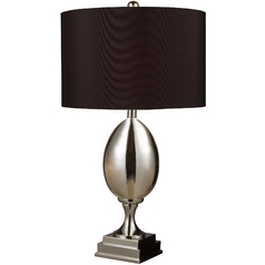 Table Lamp with Black Shade in Chrome Plated Glass Finish