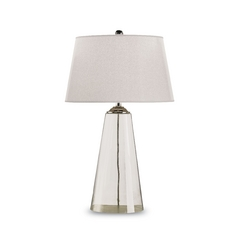 Modern Table Lamp with White Paper Shade in Clear Glass/silver Finish