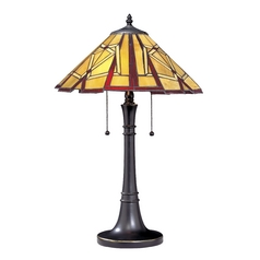 Design Classics Lighting Two-Light Tiffany Table Lamp 1609 BZ