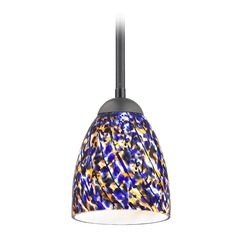 Design Classics Gala Fuse Matte Black LED Mini-Pendant Light with Bell Shade