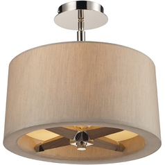 Modern Semi-Flushmount Lights in Polished Nickel Finish