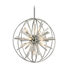 Mid-Century Modern Pendant Cluster Light Chrome Twilight by Elk Lighting