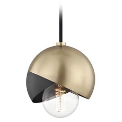 Mid-Century Modern Mini-Pendant Light Brass Mitzi Emma by Hudson Valley