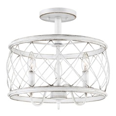 Quoizel Antique White 3-Light Traditional Semi-Flushmount Light