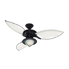 Ceiling Fan with Light with White Glass in New Bronze Finish