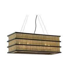 Island Light with Brown Shades in Natural Wood Finish