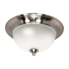 Modern Flushmount Light with White Glass in Smoked Nickel Finish